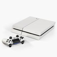 3d model sony playstation 4 white