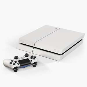 3d model sony playstation 4 white