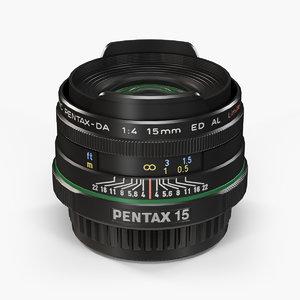 pentax smc da 15mm 3d max