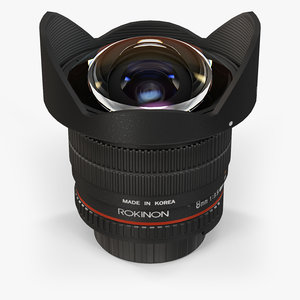 3d low-poly rokinon 8mm f