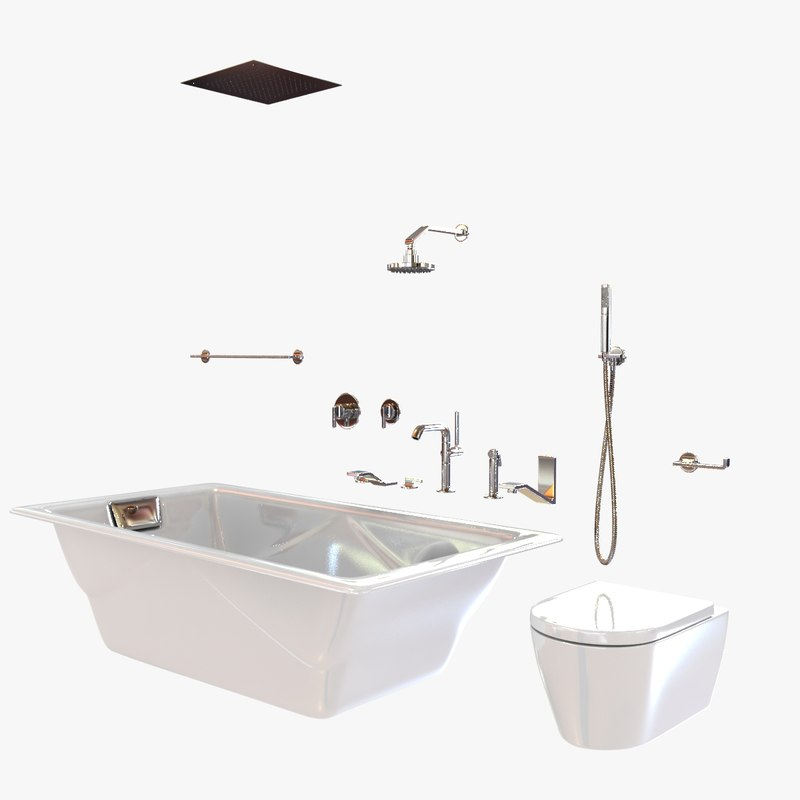 bathroom fixtures waterworks bathtub 3d model