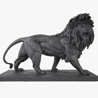 3d model stone lion sculpture