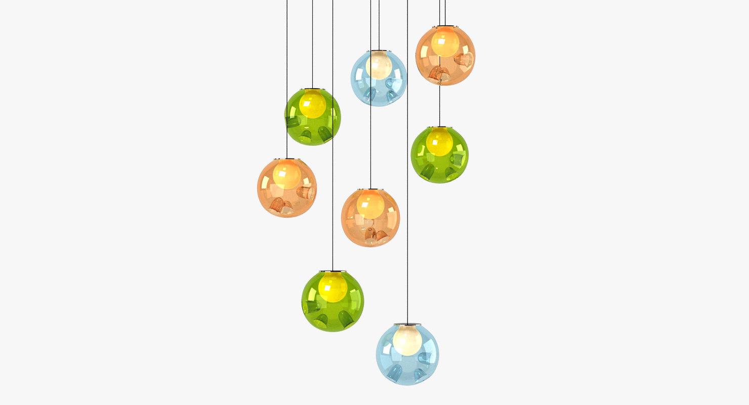 3d bocci chandelier light model