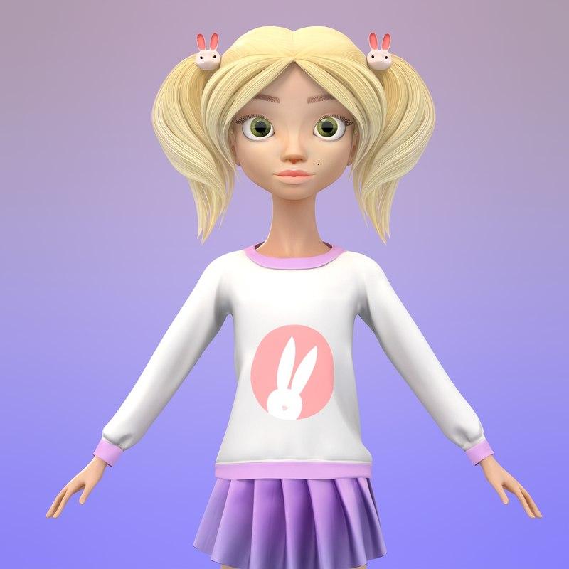 3d model cute cartoon girl