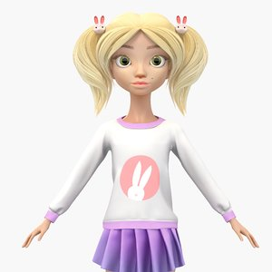 3d model cute cartoon girl