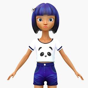 cute cartoon girl 3 max