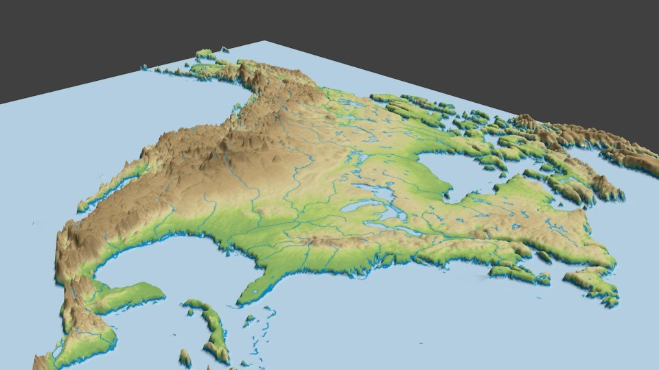 3d model surface north america