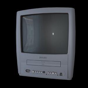 3d model old crt tv