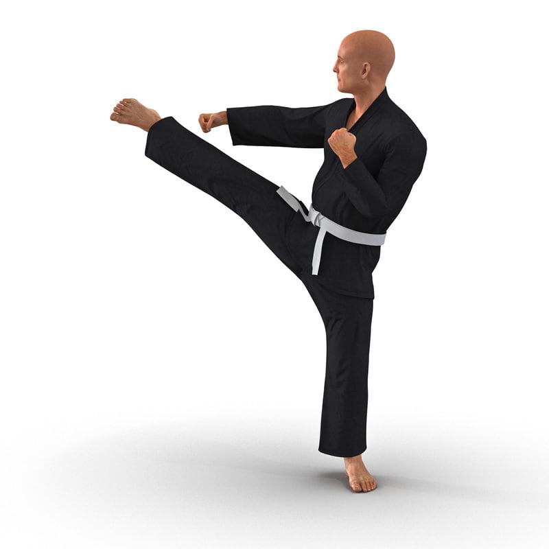 3d model karate fighter pose 2