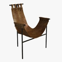 chair iron saddle leather 3d model