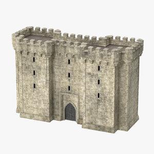 3d model gatehouse portcullis 01 -