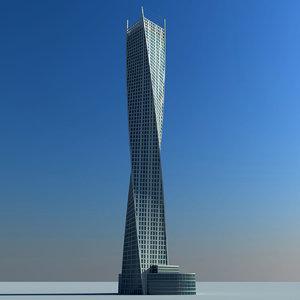 infinity tower dubai 3d model
