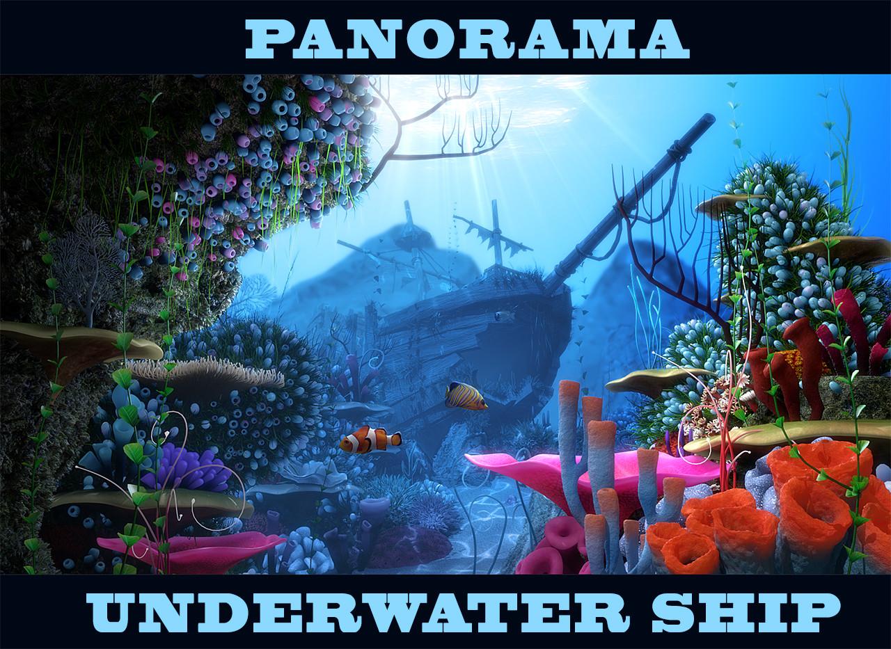 3d cartoon underwater ship scene model