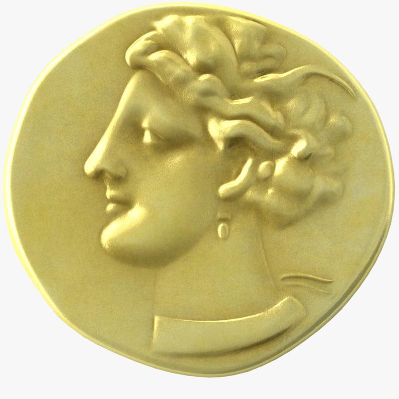 ancient electrum carthaginian shekel 3d fbx