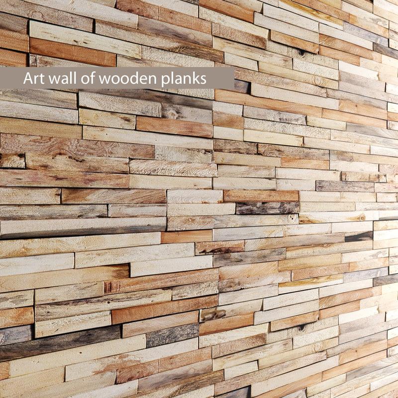 art wall wooden planks 3d fbx