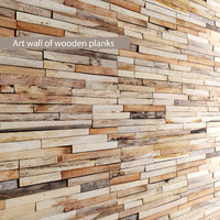 art wall wooden planks 3d fbx