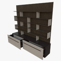 bookcase interactive drawers 3d blend