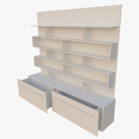 bookcase interactive drawers 3d model