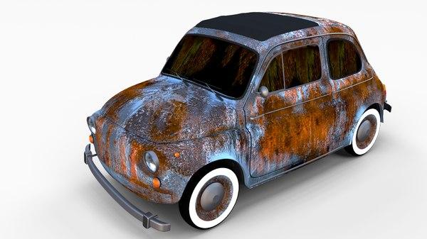 3d rusty fiat 500 nuova