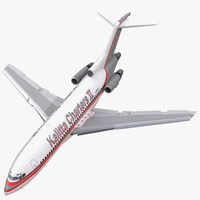 Boeing 727-100 Kalitta Air Rigged 3D Model