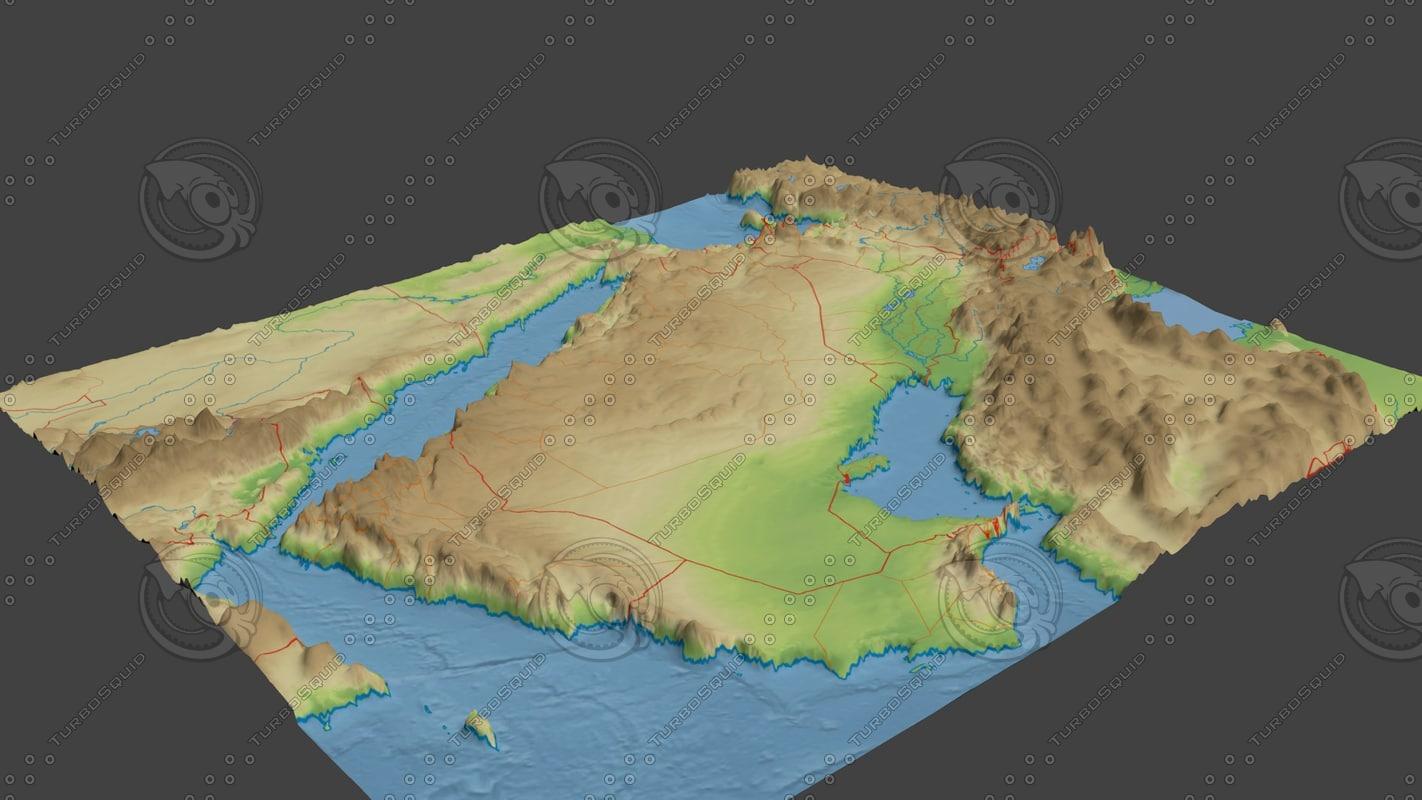 3d model surface arabian peninsula