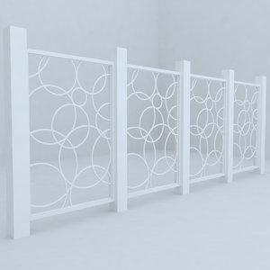 3d model of fence railing