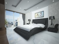 Contemporary Andorra leather bed