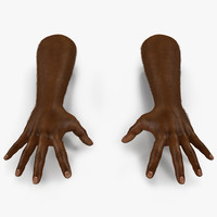 3d african man hands fur model