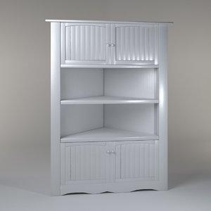hutch cabinet white 3d max
