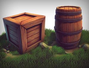 3d stylized crate barrel