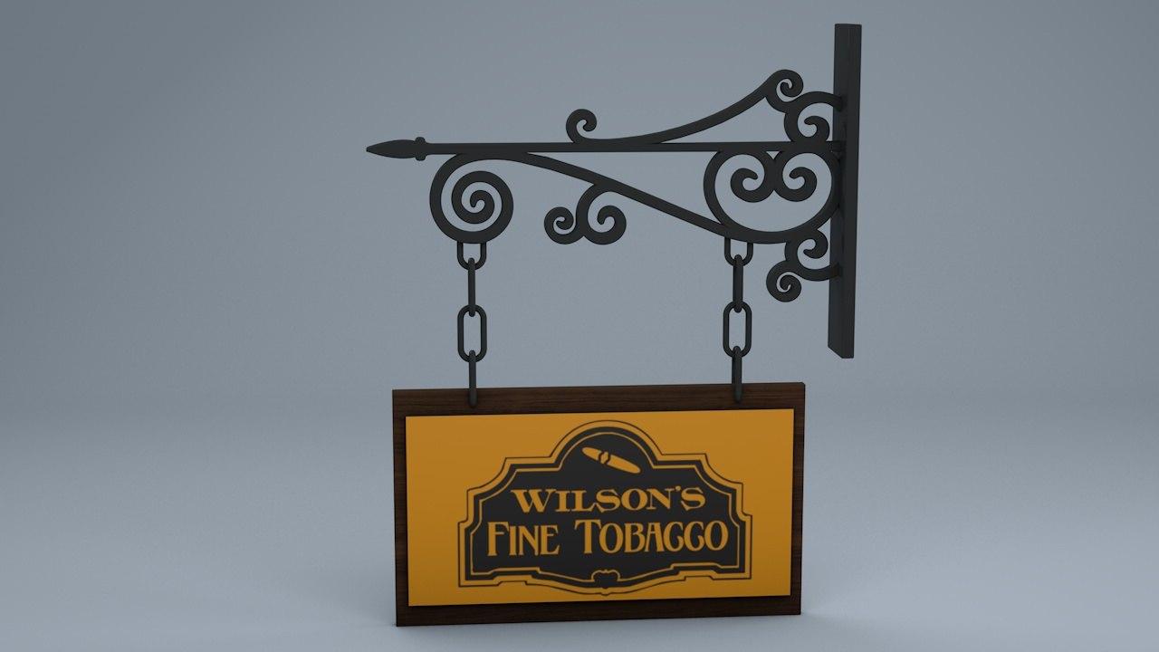 3d model hanging sign