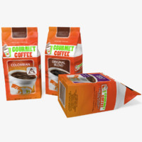 3d model gourmet coffee bags
