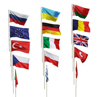 flags different countries 3d model