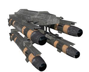 hellfire missile launcher 3d obj
