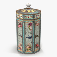 vintage tea coffee tin 3d model