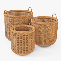 wicker basket oat color 3d model