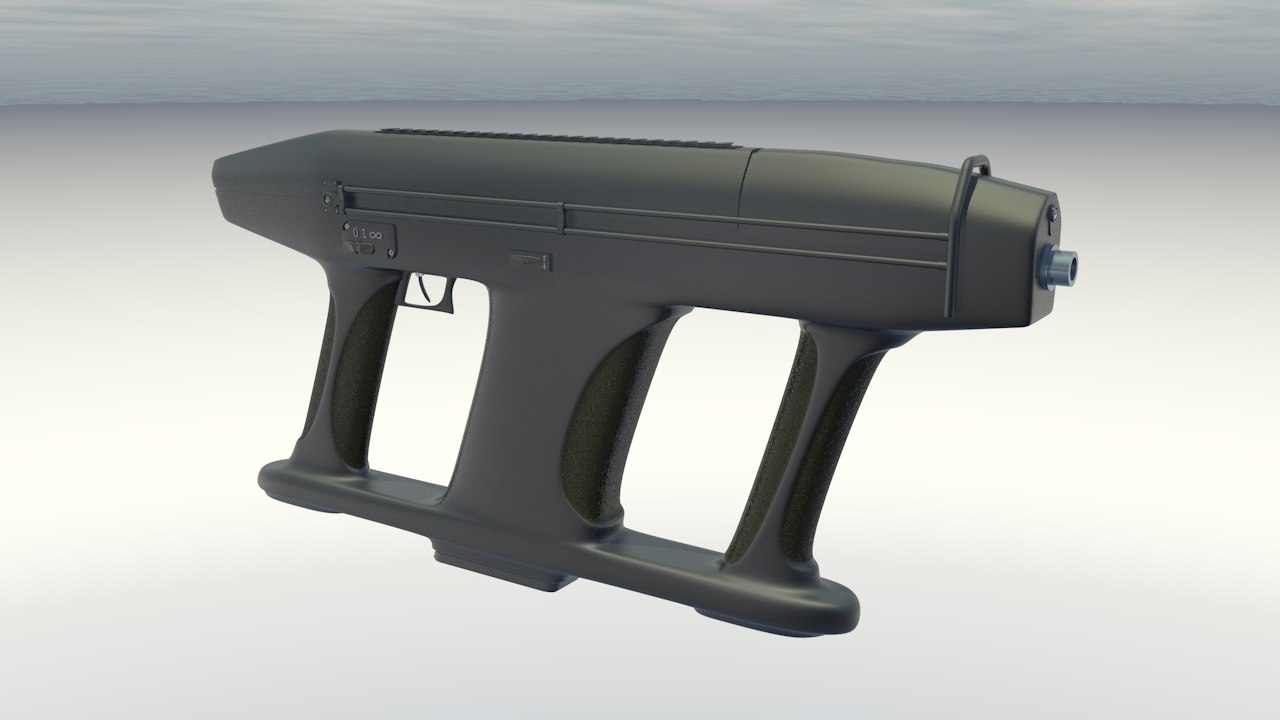 submachine gun am2 3d c4d