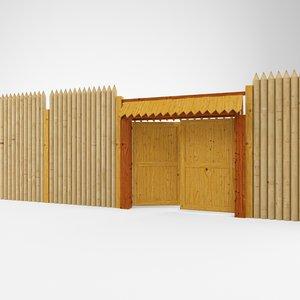 3d 3ds wooden fence