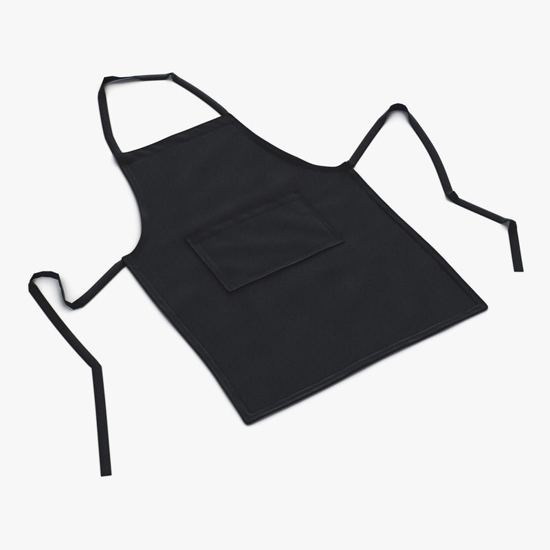 cafe apron 2 black 3d model