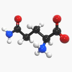 3d max glutamine acid l-glutamine amino