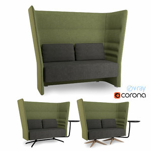 high-back sofa 3d max