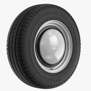 vintage wheel tire 3d model