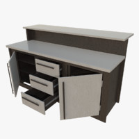 interactive kitchen bar counter 3d obj