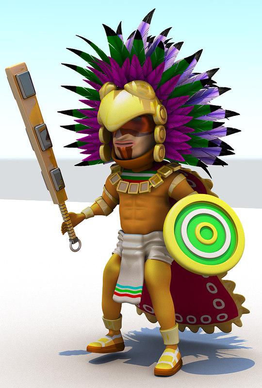 aztec cartoon 3d model