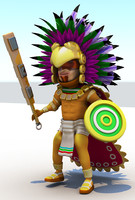 aztec cartoon 3d obj