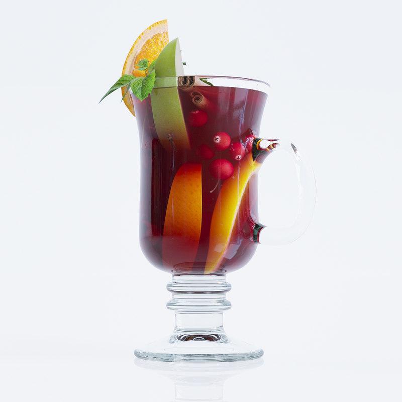 3d glass mulled wine model