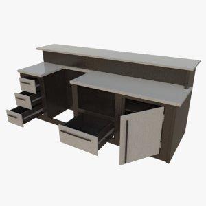 3d model interactive kitchen bar counter