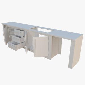 interactive kitchen bar counter obj