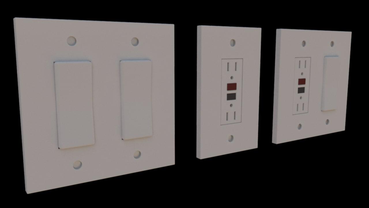 light switch outlet 3d obj