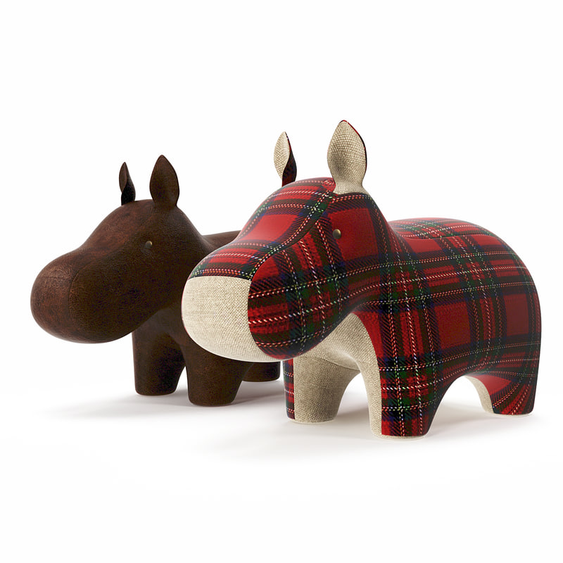 3d model of hippo plush
